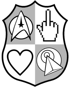 The NSMTNZ coat of arms, if you will. A delta Starfleet insignia, a hand flipping the bird, a heart, and an IDIC - Infinite Diversity in Infinite Combinations