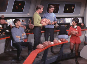 The Enterprise bridge, overrun by tribbles.