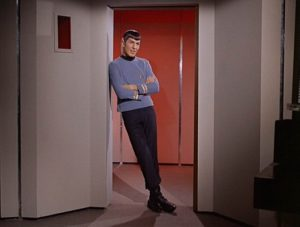 Spock, leaning