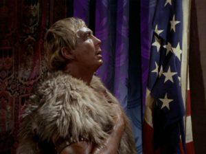 Cloud William saluting an American (???) flag