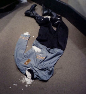 remains of the other ship's doctor: a uniform and some crystals