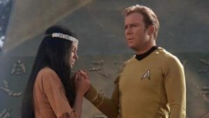 Miramanee (played by an actress in brownface makeup) and Kirk.
