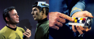 Spock in his remote-control rig and a close-up of the remote.