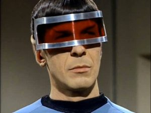 Spock wearing the anti-insanity visor