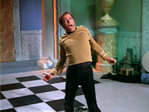 Kirk being flung around by evil mind-powers.