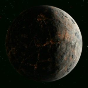 The planet Cheron, appropriately with a dark shadow over half its face.