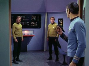 Spock faces two Kirks