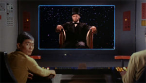 Space Lincoln appears on the view screen. Sulu's face is showing my thoughts, aka WTF