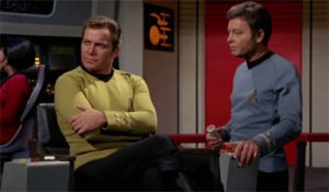 Kirk and Bones on the bridge