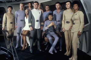 The cast of Star Trek: The Motion Picture, in their Ethel from Boca uniforms.
