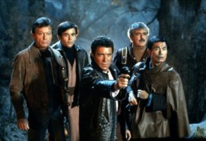 The Enterprise senior staff, minus Uhura, in badass leather jackets.