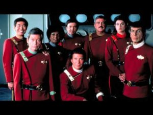 The Wrath of Khan Starfleet cast, wearing the late-23rd-century red jacket uniforms